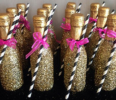 Gold sparkle mini champagne bottles