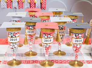 Graduation themed party favors with candy