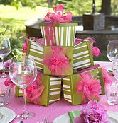 Pink and green Gift Box tower centerpiece