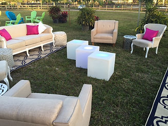 Outdoor seating area at an event on a farm Wellington, FL