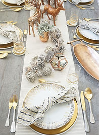 Silver and gold christmas table decor