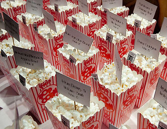 Boxes of popcorn with seating chart information