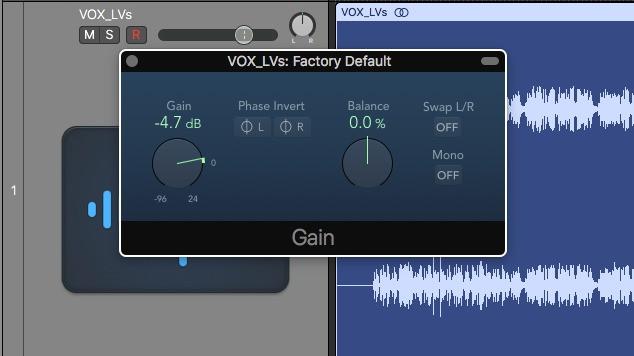 Gain plugin in Logic Pro X