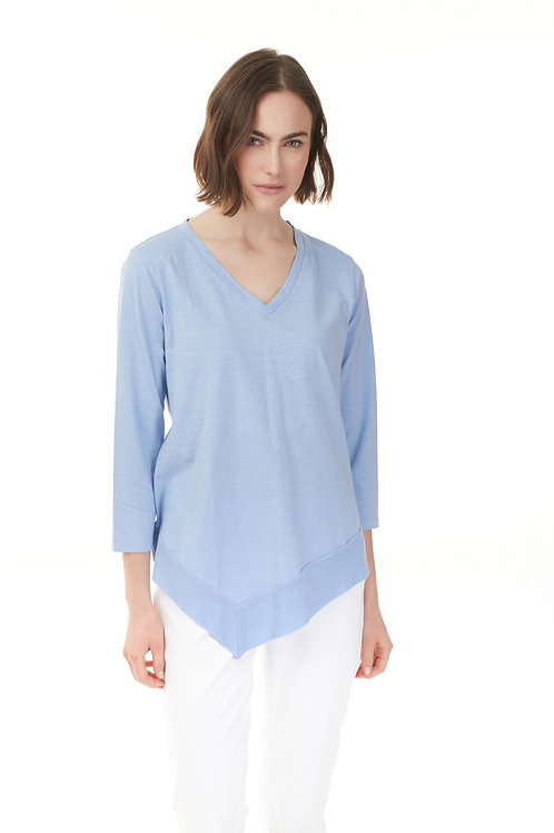 CHARLIE B V-NECK TOP-BLUE