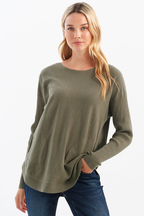 Charlie B Lace-Up Detail Sweater-Sage