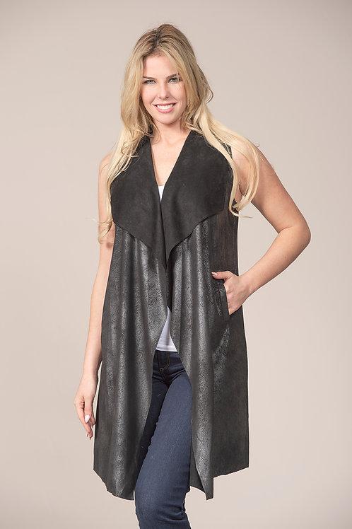 rain+rose faux leather vest