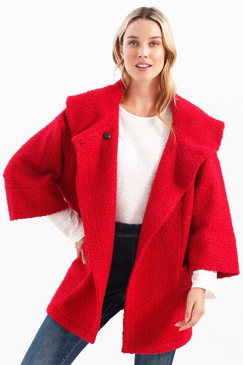 Charlie B Dolman Sleeve Coat-Cherry
