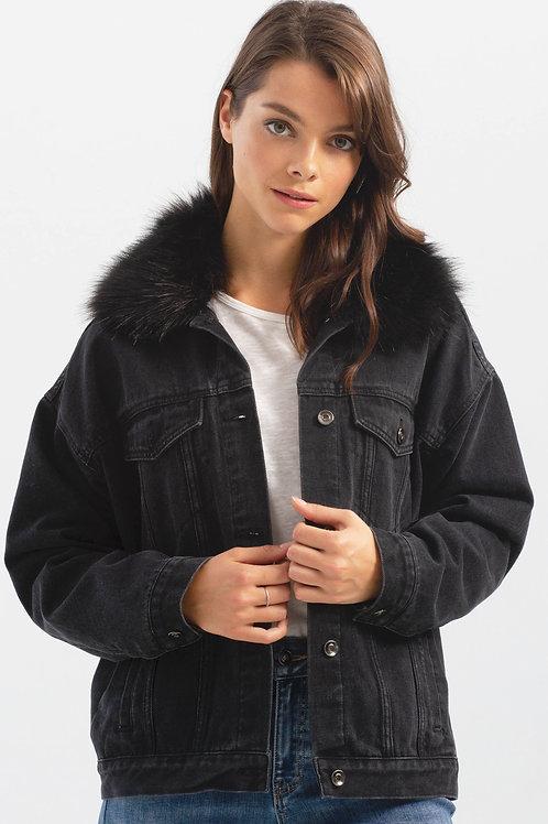 Charlie B Faux Fur Collar Jean Jacket