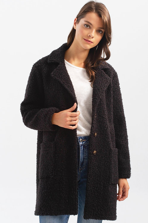 Charlie B Boucle Coat-Black