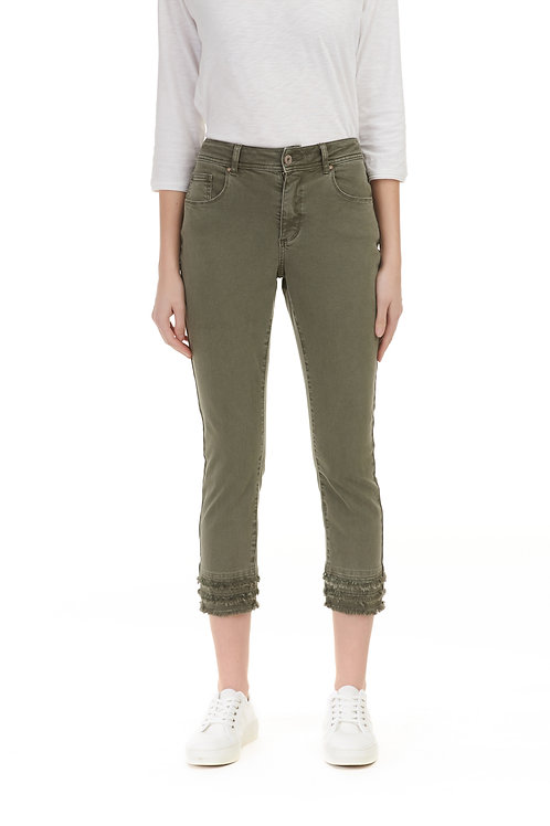 CHARLIE B TWILL FRAYED ANKLE PANT-SAGE
