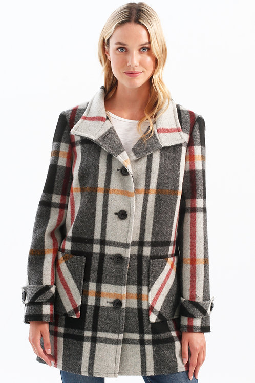 Charlie B Plaid Coat-Cayenne