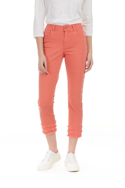 CHARLIE B TWILL FRAYED ANKLE PANT-WATERMELON