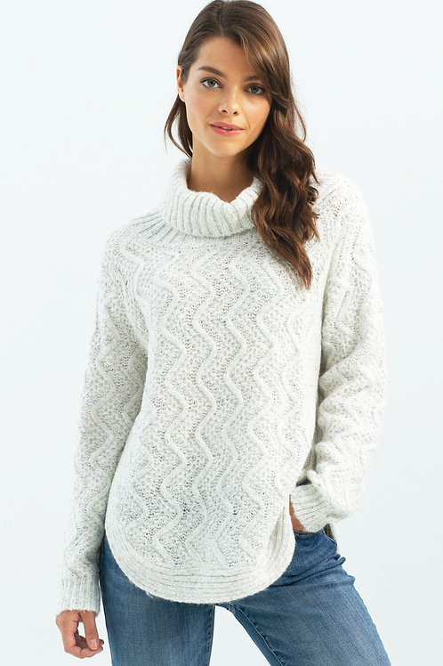 Charlie B Cable Knit Cowl Neck Sweater