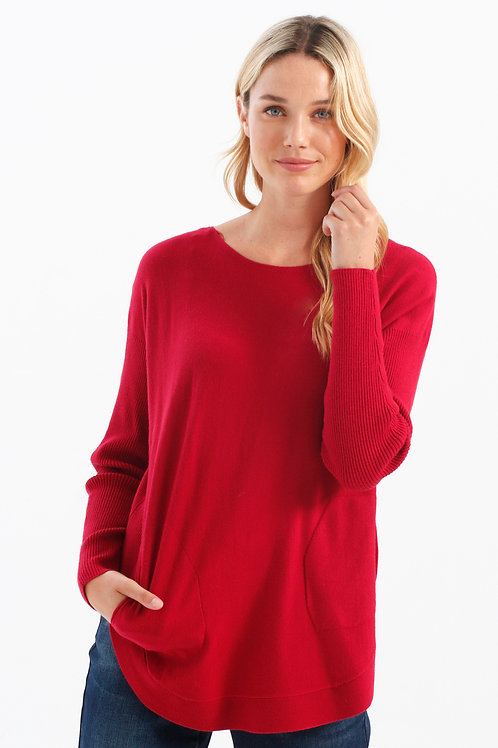 Charlie B Lace-Up Sweater-Cherry