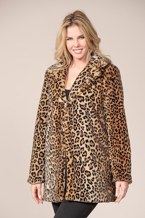 Rain & Rose Leopard print faux fur coat
