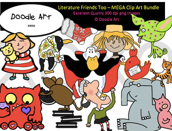 literature friends too clip art bundle