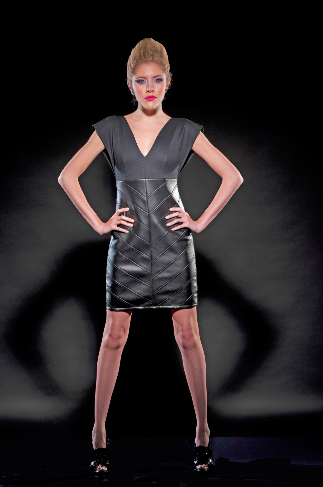 ZIP BACK LEATHERETTE DRESS