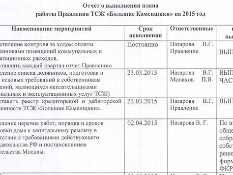 Отчет о выполнении плана 2015 года