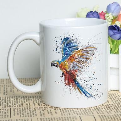 MAYREY Custom Watercolor -Beautiful Macaw Coffee Cup