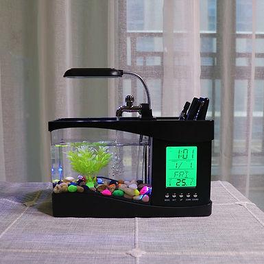 Fish Tank Mini Aquarium  LED  Desktop Clock