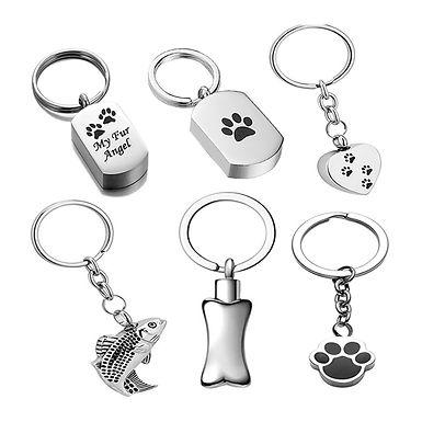 Stainless Steel Dogs Cats Bone Ash Keepsake  Custom  Key Chain