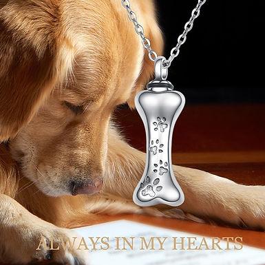 Pet Loss Dog Bone Cremation  Pendant Necklace