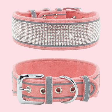 New  Rhinestone Medium Large Dog Collar Suede Reflective Durable For Dog Cats