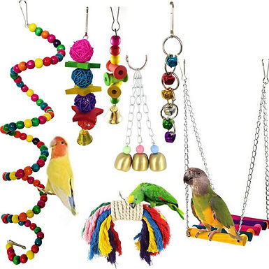 Cute 7pcs/Set Parrot Swing Hanging Bells Wooden Bridge Accessories Bird Toy