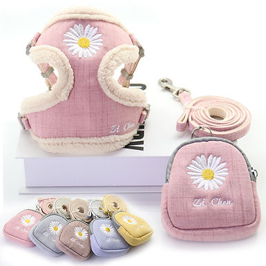 Cute Soft Dog Harness and Leash Set Snack Bag For Small Medium Dogs
