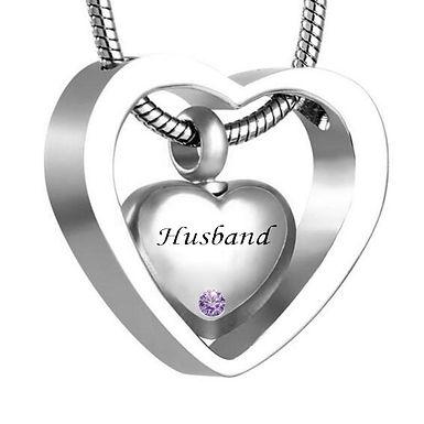 Custom Double Heart Birthstone  Necklace Keepsake Cremation Jewelry