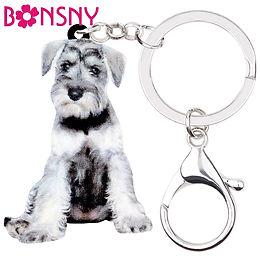 Acrylic Sweet Schnauzer Dog Key Chain