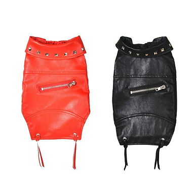 Fur  Studded Leather Jacket For  Small Medium Dogs