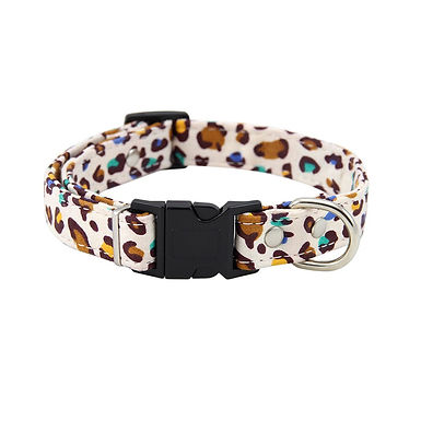 New Leopard Print Dogs Collar and Leash Set Adjustablevh