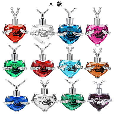 Crystal Heart Shape Birthstone  Memorial  Necklace for Ashes, Stainless Steel