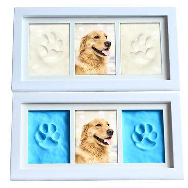 Pet Pawprint Keepsake Kit Cat Dog Photo Solid Wood Frame
