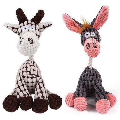 Donkey & Giraffe  Shaped Corduroy Chew Toy for Dogs