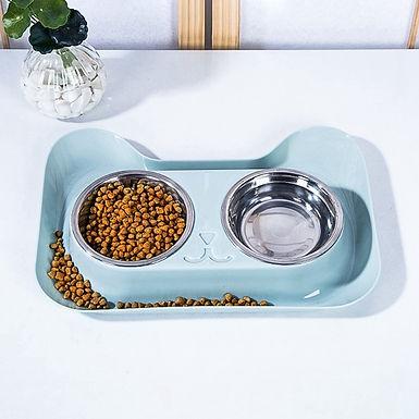 Cat Head Shape PP Stainless Steel Double Bowl  Feeding Mat