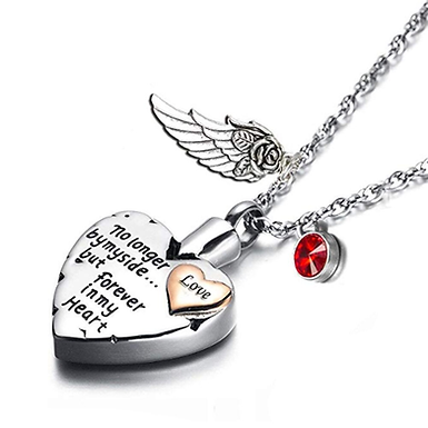Heart Cremation Necklace for Ashes Angel Wing Pendant