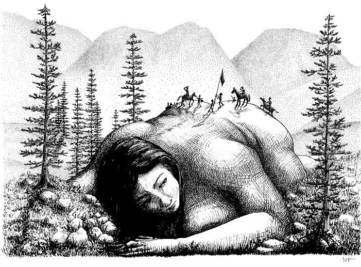 SLEEPING GIANT WAKES Signed Print