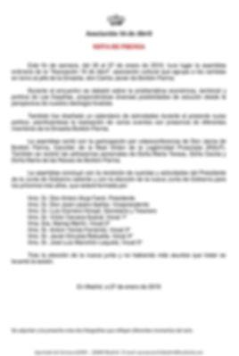 NOTA DE PRENSA ASAMBLEA 26 DE ENERO 2019