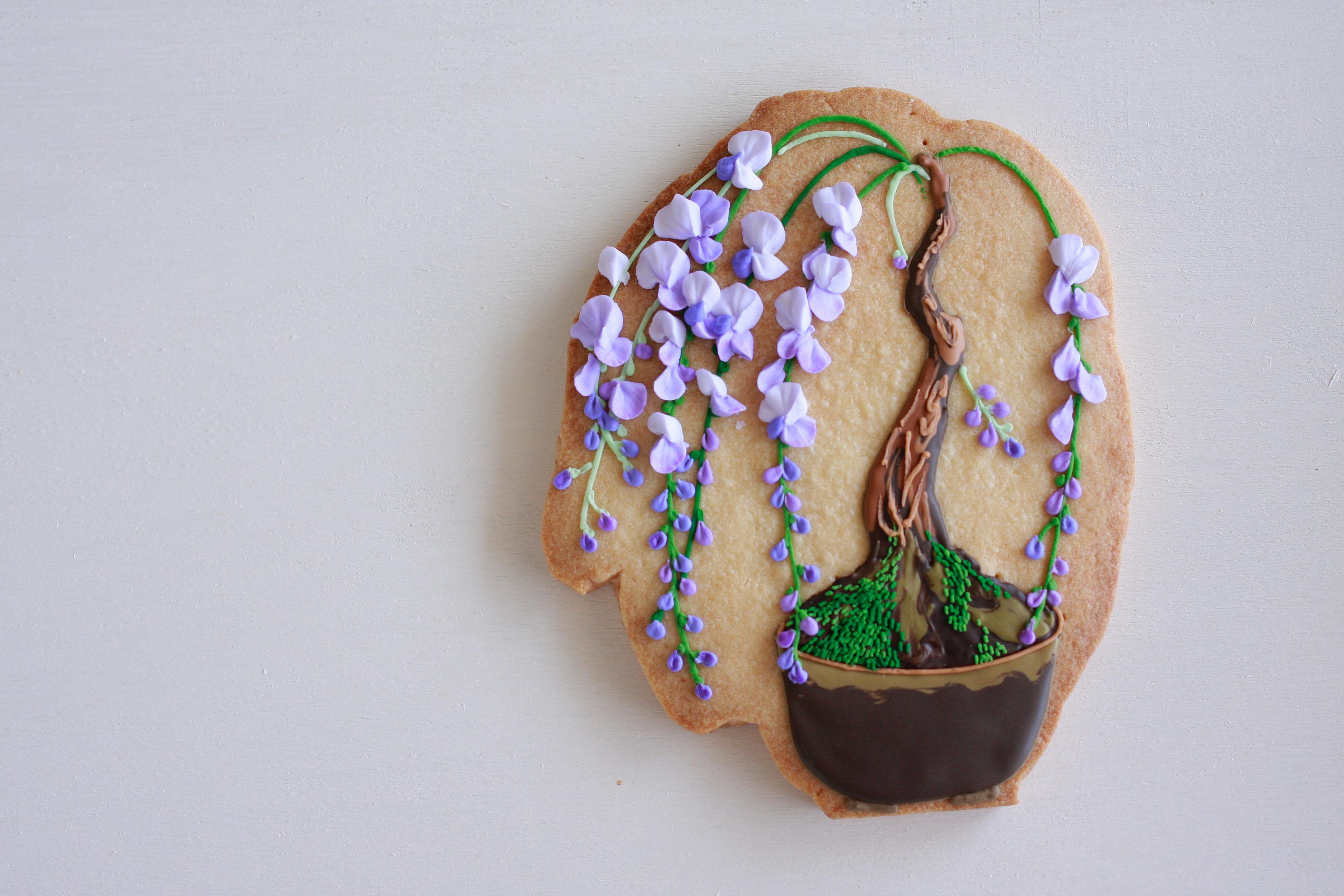 盆栽アイシングクッキー(藤)