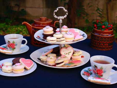 バレンタインの食器とお菓子の撮影会