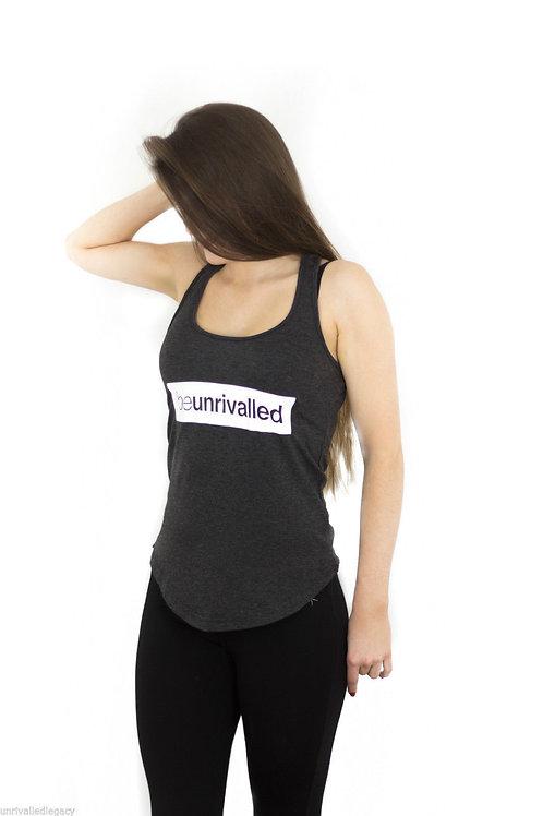 Ladies Dark Grey Stretch Racer Back Vest Gym / Yoga Top Size 6 8 10 RRP £18.99