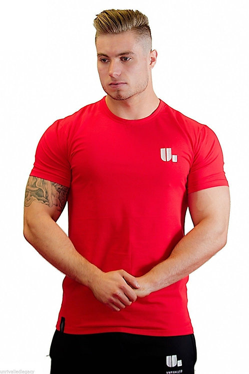 Mens Red Embroidered T-Shirt Muscle Fit Bodybuilding Gym S / M / L RRP £18.99