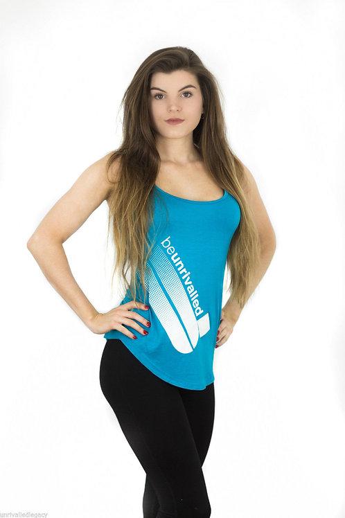 Ladies Neon Blue Stretch Racer Back Vest Gym / Yoga Top Size 6 8 10 RRP £18.99