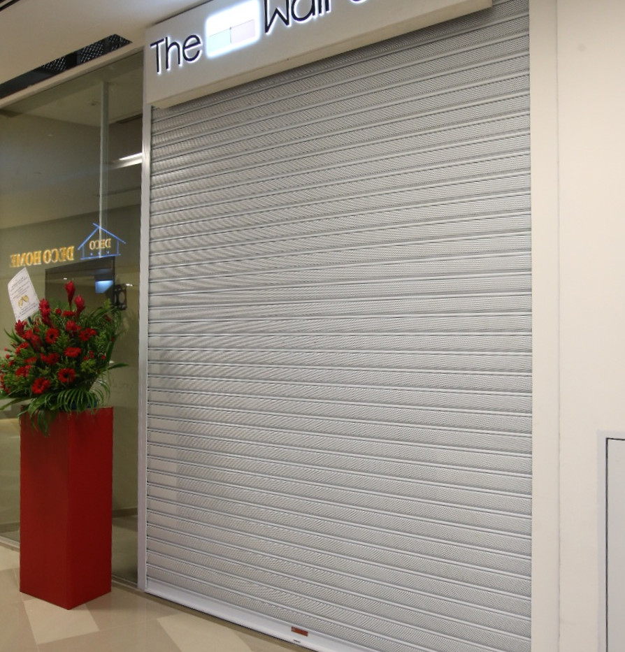 Perforated Roller Shutter in shopping ma