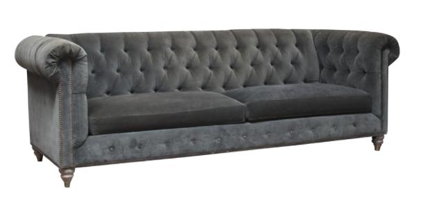 Grey Velvet Chesterfield Sofa