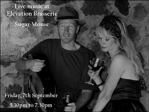 Sugar Mouse are performing live at Elevation Brasserie. Friday, 7th September 2018, 5.30-7.30pm