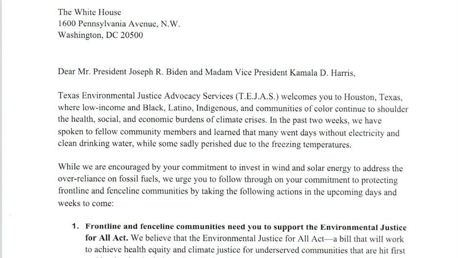 Letter to Mr. President Joseph R. Biden and Madam Vice President Kamala D. Harris
