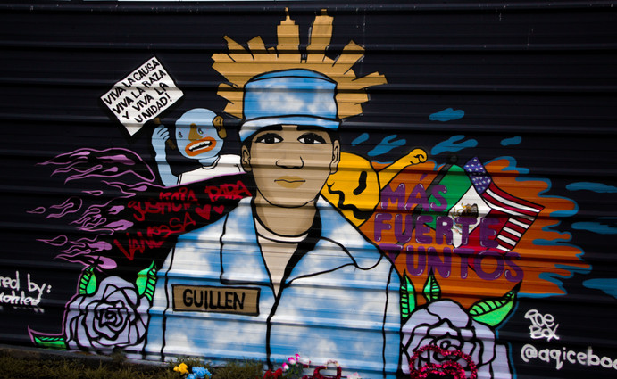 This is one of the Vanessa Guillen murals we saw during our walk. She was someone who people didn't talk about enough. She was supposed to be in a safe place so she will be protected from any harm.